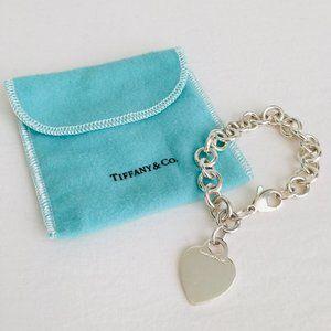 Tiffany & Co. Heart Charm 925 ID Tag Link Bracelet